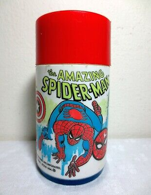 Vintage - 1980 MARVEL THERMOS - Spider Man / Hulk / Captain America Super Heroes