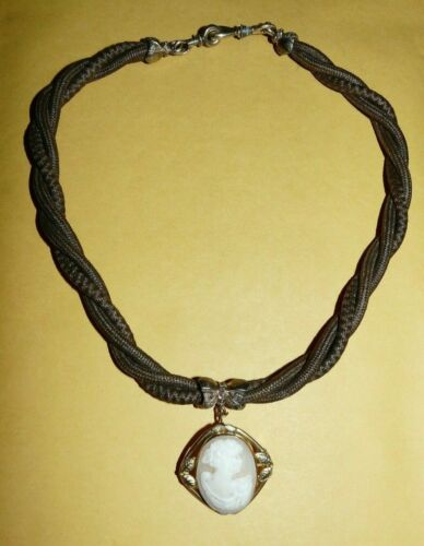 ~ANTIQUE~VICTORIAN~MOURNING~YELLOW~GOLD~FILLED~WOVEN~HAIR~NECKLACE~CAMEO~PENDANT