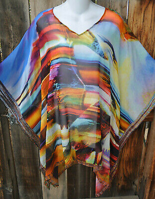 DILEMMA HAND PAINTED DALI INSPIRED SILK GEORGETTE ART TO WEAR PONCHO TUNIC,OS+! Georgette Poncho