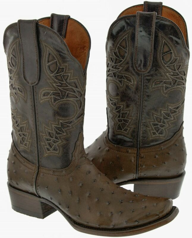 Mens, Ostrich, Quill, Pattern, Cowboy, Boots, Square, Toe, Genuine, Leather, Brown, Size, 8