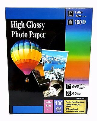 "Premium Glossy Inkjet Photo Paper 8.5""x11"" Letter Size 100 sheets Weight 210gsm"