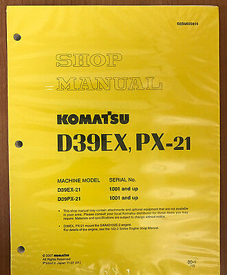 Komatsu D39ex-21 D39px-21 Dozer Service Repair Shop Printed Manual