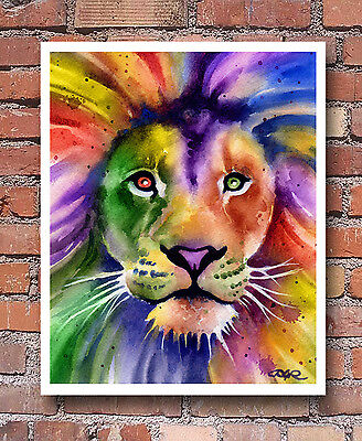 LION Contemporary Watercolor ART Print by Artist DJR