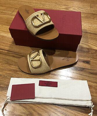 NIB Valentino VLOGO Slide Sandal Shoes NATURAL 39 / 9 New Gold V