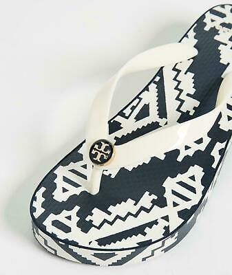 L@@K! NWT Size 9 Tory Burch Wedge Flip Flop Perfect Ivory/Tapestry Geo Gift
