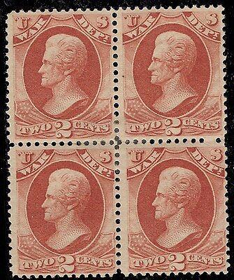 SC# O84 (block of 4) Mint 2c Andrew Jackson War Dept. OG HR CV$985