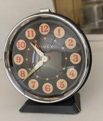 Vintage Timex Alarm Clock Art Deco Wind Up   Unique Style Glow In Dark Hands
