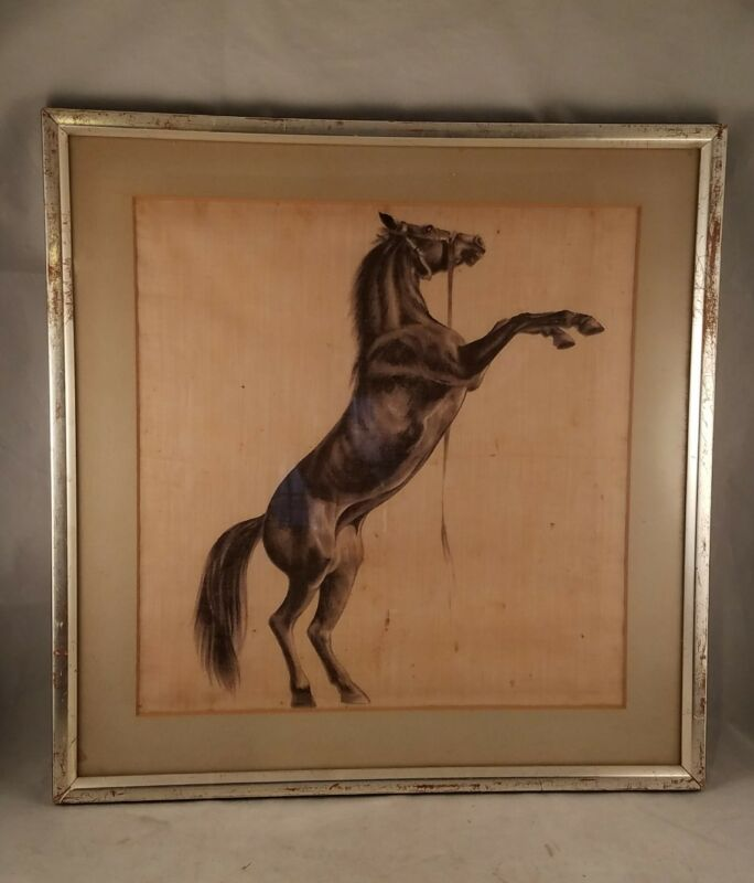 SILK PAINTING WILD HORSE CHARCOAL REARING FRAMED VINTAGE ANTIQUE ARTIST