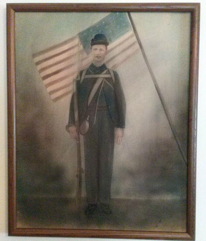 "Antique Portrait Picture Of Civil War Soldier, Chalk Or Charcoal, Framed 21""x17"""