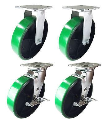 4 Heavy Duty Caster 8 Polyurethane Cast Iron Wheels Rigid Swivel Brake Green