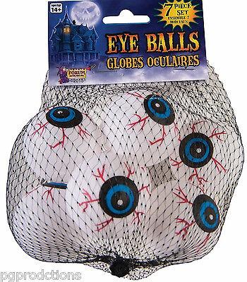 Halloween Eyeball Ping Pong Balls (7 FUNNY EYEBALLS SET Pack Bloodshot Ping Pong Balls Movie Puppet Eyes Prop)