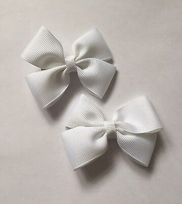 2 Packs Of White Big Bow Hair Clips/aligator Clip/schools Uniform