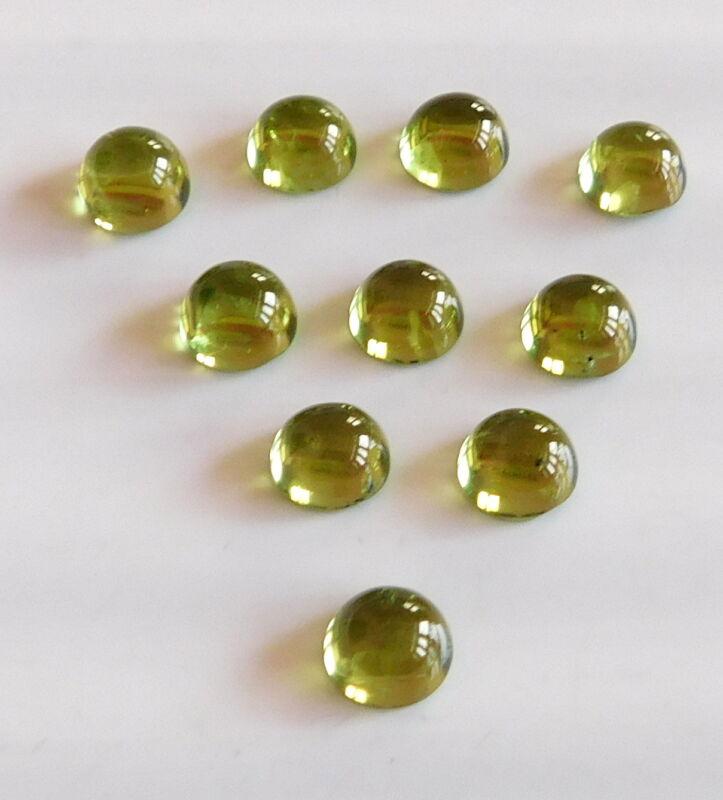 10 Ct 10 Pcs Natural Peridot Cab Lot Loose Gemstone Round 6 MM Round Lot H2792
