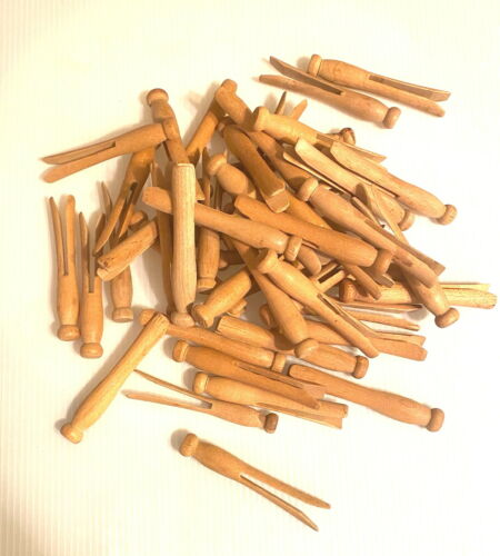 """50 Antique Wood Clothes Pins Laundry  Round head crafts altered art. 3 3/4"""" long"""
