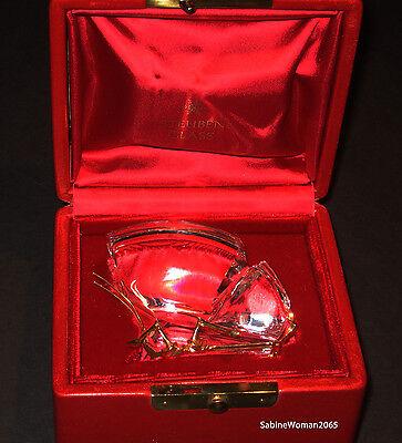 NEW in RED BOX STEUBEN Glass 18K GOLD BUTTERFLY Monarch heart papilio Ornamental