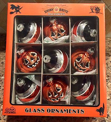 Christopher Radko Shiny Brite Halloween Pumpkins Set of 9 Glass Ornaments - Christopher Radko Shiny Brite Halloween