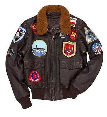 LSM TOM CRUISE TOP GUN FLIGHT BOMBER LEATHER JACKET JET PILOT JACKET (Top Gun Bomber Jacket)