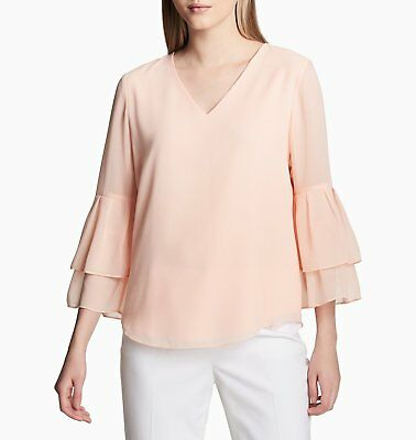 Calvin Klein Women's V Neck Blouse With 2 Tier Sleeve Color Pink Size L Tier-sleeve