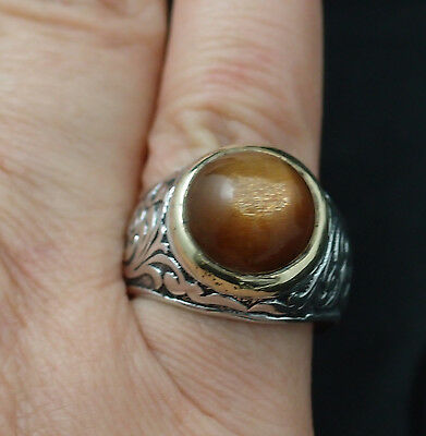 Ring Cat's Eye Sun Stone Sterling Silver Unisex  Natural Gift