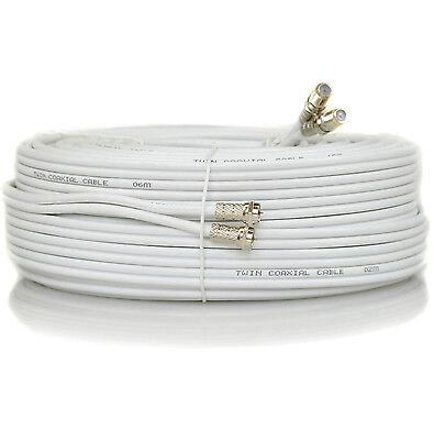5m Metre White Twin Satellite Sky HD+ Extension Cable Lead Coupler Coax Shotgun