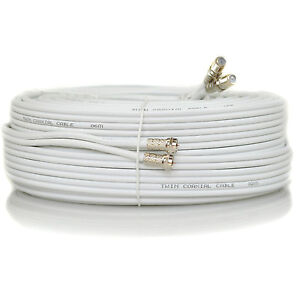 5m Metre White Twin Satellite Sky HD+ Extension Cable Lead Fitted Coax Shotgun