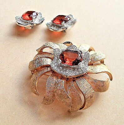 Brooch & Earring Set Signed JOMAZ, Gold, Silver and Garnet Colors