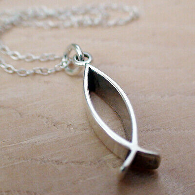 Ichthus 3-D Charm Necklace - 925 Sterling Silver -Christian Fish Faith Jesus -