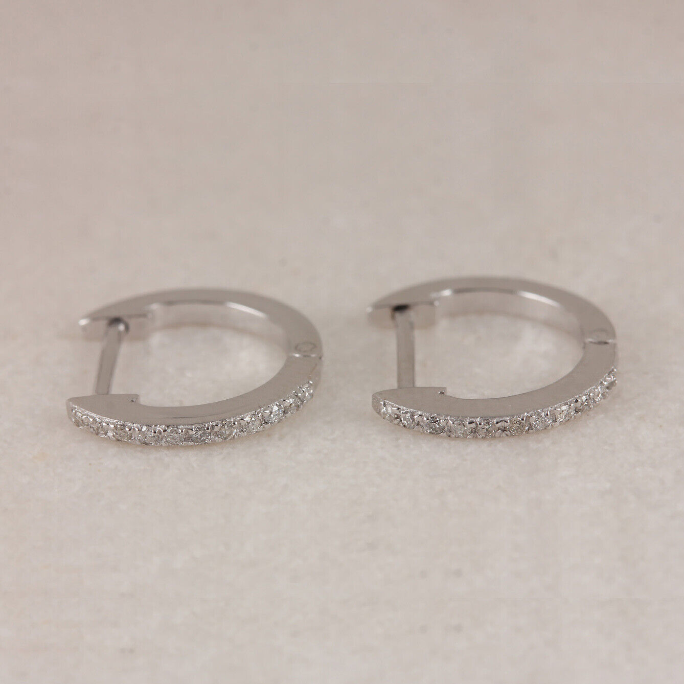 0.25 Ct Round Cut Natural Diamond Multi Row Huggies Hoop Earrings 14K White Gold Plated