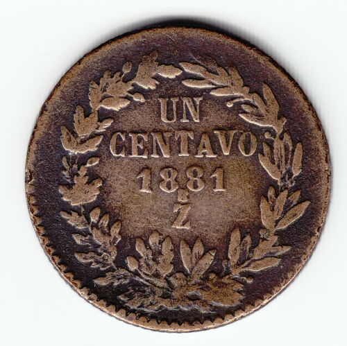MEXICO 1 centavo 1881-Zs KM391.9 Cu Zacatecas Last date Average SCARCE !