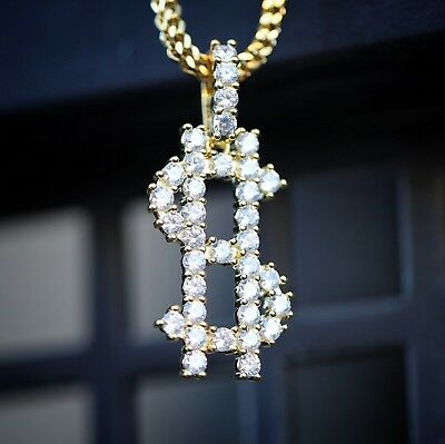Iced out Hip Hop Bling Dollar Money Sign $ Pendant & Franco Chain Necklace