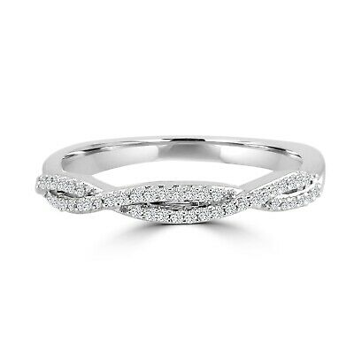 1/10ct Diamond 10k White Gold Infinity Twist Wedding Anniversary Band Ring