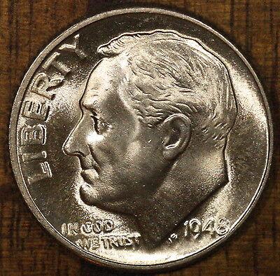 1948 D Roosevelt Dime FULL BANDS ! GEM/BU LUSTER! 90% Silver US Coin