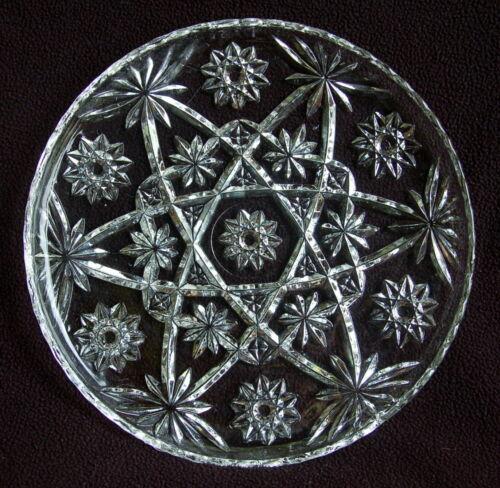 "STAR OF DAVID EAPC ~13"" CAKE Plate / Serving PLATTER ~ ANCHOR HOCKING ~ EXC"