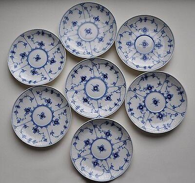 """Royal Copenhagen Blue Fluted Plain Lace Plates 6.5"""" (7 Total)"""