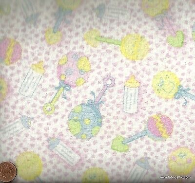 Baby rattles pink flannel Blank fabric
