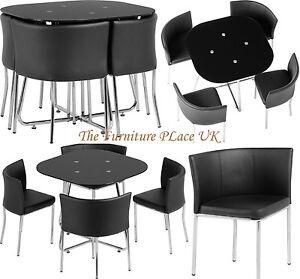 0b9f4fdbe9 Washington Stowaway Dining Set in Black Glass and Chrome with Black PU  Chairs