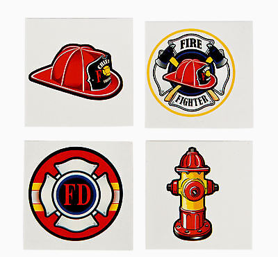 72 FIREMAN TATTOOS Kid's FIREFIGHTER Party Favors Temporary - Firefighting Tattoos