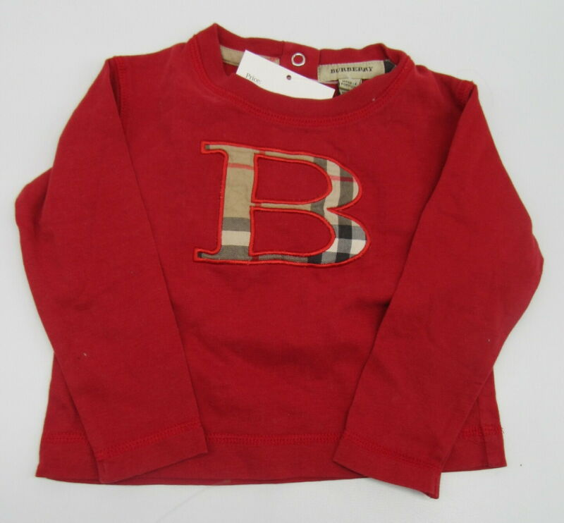 BURBERRY red long sleeve t-shirt infant sz 6m