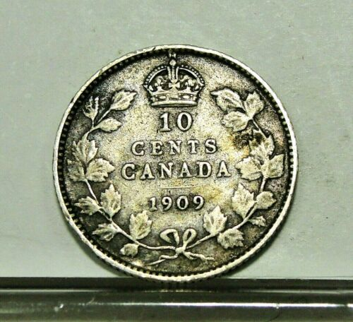 1909 Silver Canada 10 Ten Cents Dime Canadian Coin  ~ Free Shipping ~