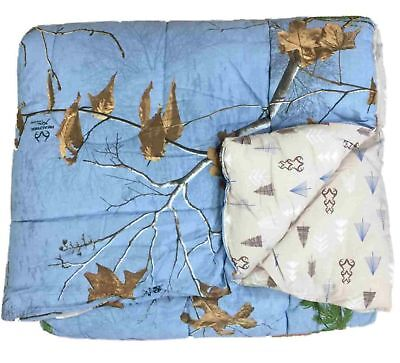 Camouflage Full Comforter Set - Real Tree Blue Camouflage Full Comforter Set with Shams Camo, Reversible