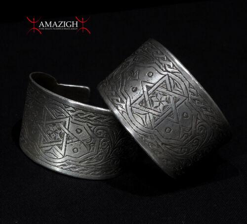 Old Massive Pair Berber Bracelets – Seal of Solomon, Hands, Crescent - Tunisia