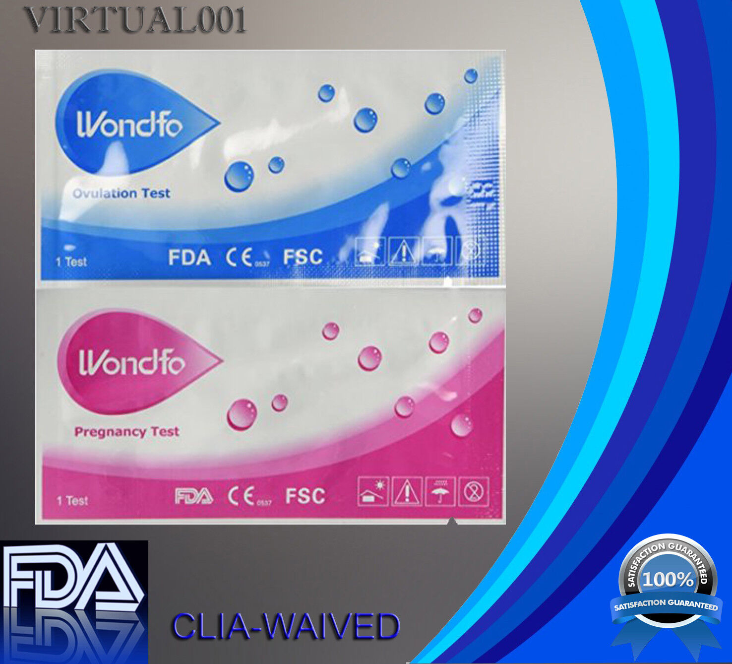 WONDFO 100 ovulation and 20 pregnancy  test strips, exp 2020