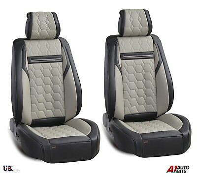 Deluxe Quality Grey Black PU Leather 1+1 Front Seat Covers Padded For