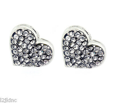 (Ladies Silver Finish 12mm Large Hearts Lab Cz Screw Back Stud Earrings)