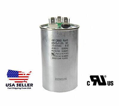 45/5 MFD Round Dual Run Capacitor HVAC AC 45+5 µF 370-440VAC 50/60Hz 5%