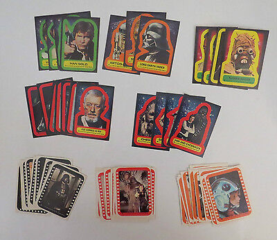 1977 Topps Star Wars Series 1 -5 Complete 55 Sticker Card Set EX+