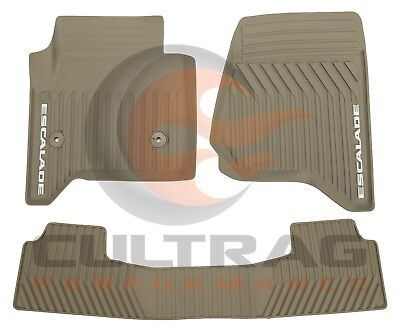 2015-2019 Cadillac Escalade GM Front & 2nd Row All Weather Floor Mats Dune