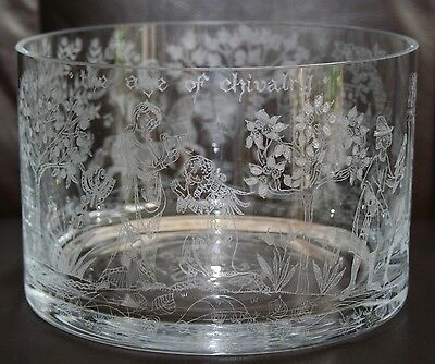 "BEAUTIFUL ETCHED ""AGE OF CHIVALRY"" BRISTOL COMMEMORATIVE 7"" CRYSTAL GLASS BOWL"
