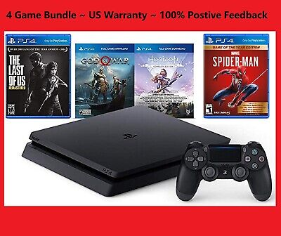 NEW PlayStation 4 PS4 1TB Console+4 Game Bundle SpiderMan/GOW/Horizon/LastofUs