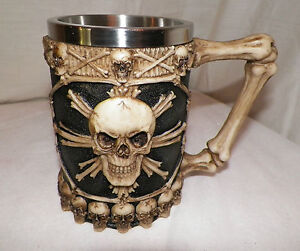 NEW-OSSUARY-SKULL-CROSS-BONES-GOBLET-TANKARD-MUG-BEER-STEIN-CUP-BEVERAGE-UNIQUE